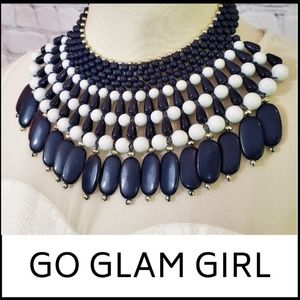 NWT Beaded Statement Bib Necklace - Navy/White